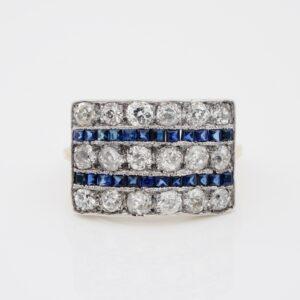 Art Deco 2.70 ct Diamond 1.40 Ct Natural Sapphire Wide Panel Ring