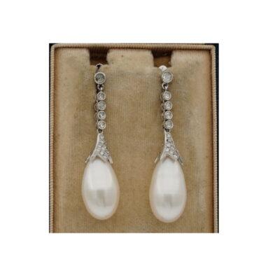 Art Deco Rare Large Drop Pearl and Diamond Earrings