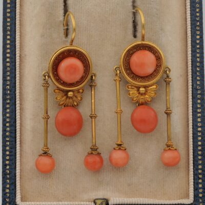 Victorian Coral Etruscan Revival 18 Kt Gold Dangling Earrings