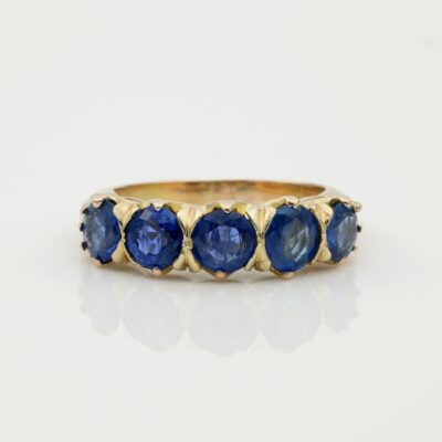 Vintage 3.15 Ct Natural Sapphire Five Stone Ring