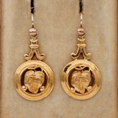 Victorian 18 KT Gold  Grape Leaf Earrings