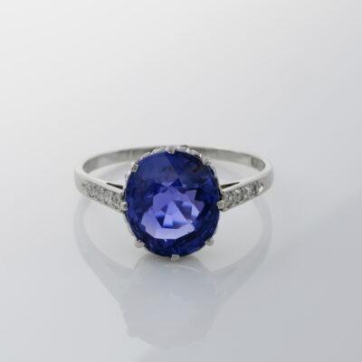 Art Deco 4.42 Ct Natural No Heat Ceylon Sapphire Diamond Platinum Engagement ring
