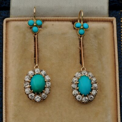 Victorian Natural Turquoise 2.40 Ct Diamond Rare Drop earrings