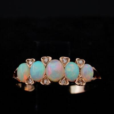 Victorian Edwardian Five Stone Opal Diamond 1901 Ring