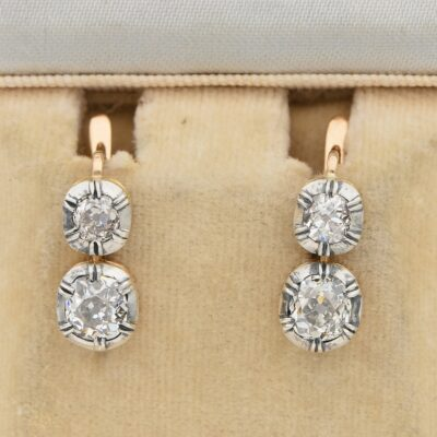 Vintage 2.80 Ct old Mine Twin Diamond Russian Style Twin Solitaire Earrings