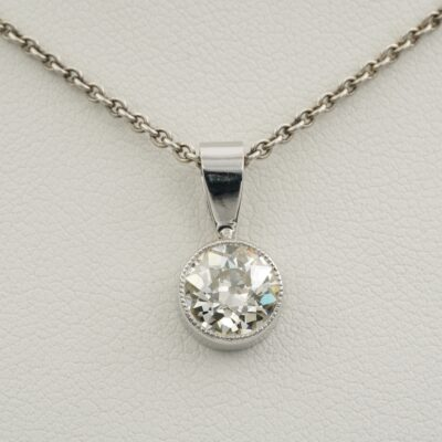 Art Deco 1.45 Ct Old European cut I VVS Diamond Solitaire Platinum Pendant