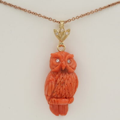 Victorian  Whimsical Carved Salmon Coral Owl Rose Cut  Diamond Pendant