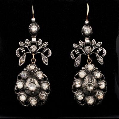 Georgian 2.20 Ct Rose Cut Diamond 1790 Girandoles Drop Earrings