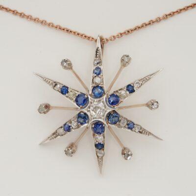 Victorian 1.80 Ct Natural Sapphire 1.30 Ct Diamond Large Star Brooch/Pendant
