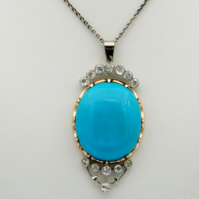 Art Deco 50.00 Ct Natural Persian Turquoise Diamond Large Pendant