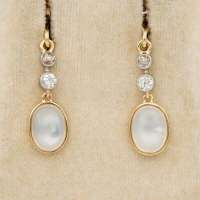 Victorian 6.00 Ct Moonstone .70 Ct Old Mine Diamond Earrings