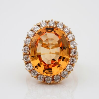 Vintage 14.50 Ct Natural Imperial Topaz 1.60 Ct Diamond Rare Statement ring