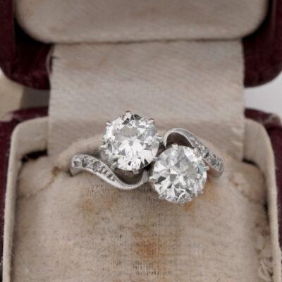 Art Deco 2.60 Ct Diamond Twist Ring G/H SI