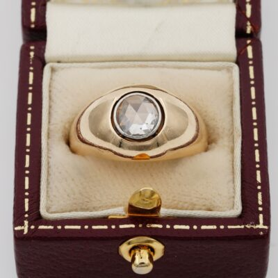 Victorian 1.20 Ct Spread Rose Cut Diamond 18 Kt Gold Gypsy Ring Boxed
