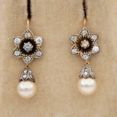 Edwardian 7 mm. Pearl 1.10 Ct Old Cut Diamond Drop Earrings