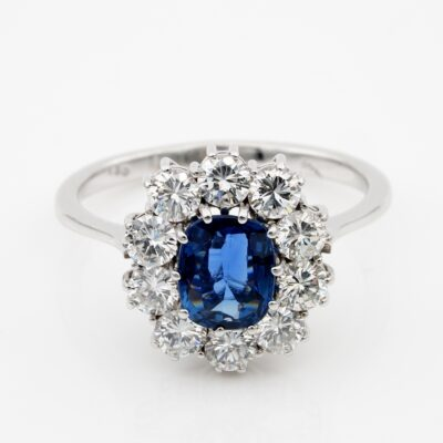 Vintage 1.20 Ct natural Untreated Sapphire 1.30 Ct Diamond Halo ring