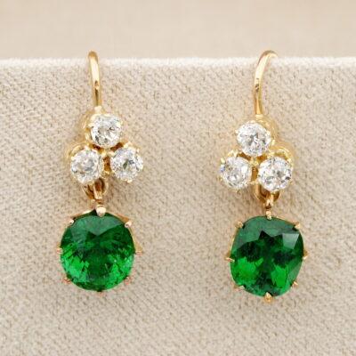 Vintage 3.05 Ct Tsavorite Garnet .70 Ct old cut Diamond Drop earrings