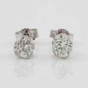 Vintage 1.18 Ct Old European Diamond Stud G H VS SI earrings