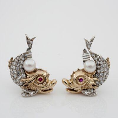 Vintage 1.70 Ct Diamond  G VVS Pearl Diamond Dolphin Earrings
