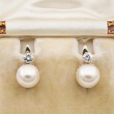 Art Deco 9 mm. Pearl .40 Ct Diamond 18 Kt Solitaire earrings