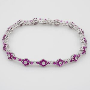 Vintage 7.55 Ct pink sapphire and diamond floret bracelet