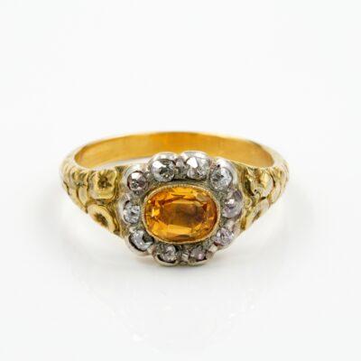Georgian Imperial Topaz Diamond distinctive 18 KT ring