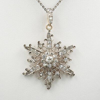 Edwardian 2.55 Ct Diamond Snowflake Pendant