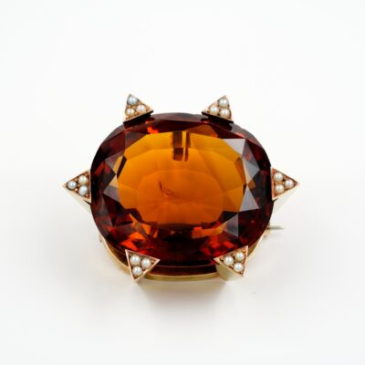 Late Art Deco 79.00 Ct Untreated Large Madeira Citrine Brooch Pendant