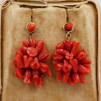 Antique Tutti Frutti Red Coral Drop Earrings 9 KT Rose Gold