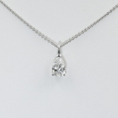 Classy .75 Ct Weighted Tear Drop Diamond Plus 18 KT Chain Necklace
