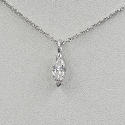 .45 Ct Marquise cut Diamond G VVS Solitaire Necklace 18 Kt