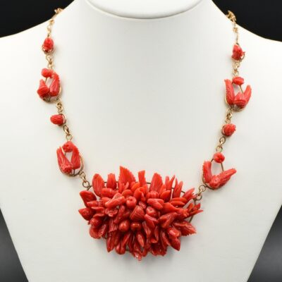 Antique Red Coral Tutti Frutti Necklace  Solid 9 KT Rose Gold