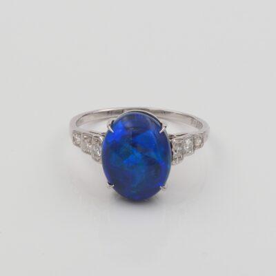 Vintage 3.87 Ct Black Opal Diamond Sides Platinum ring