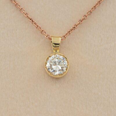 Vintage 1.04 Ct Diamond Solitaire Pendant plus 18 KT Chain
