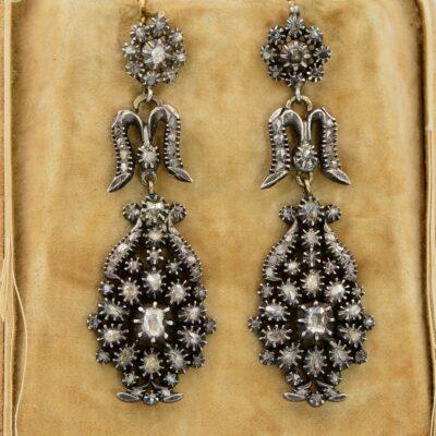 Georgian Rose Cut Diamond Chandelier Giardinetti Earrings