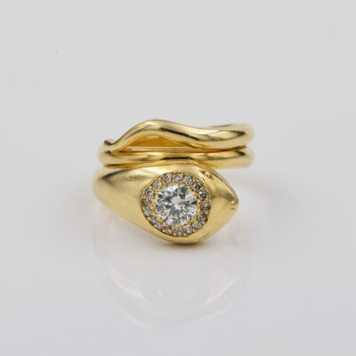 Antique .70 Ct Diamond Coiled Snake 18 Kt ring