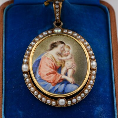 Victorian French Virgin Mary and Baby 18 Kt Natural Pearl
