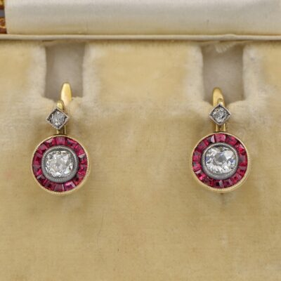 Victorian .70 Ct Old Mine Diamond Ruby Rare Target  Earrings 18 KT Silver