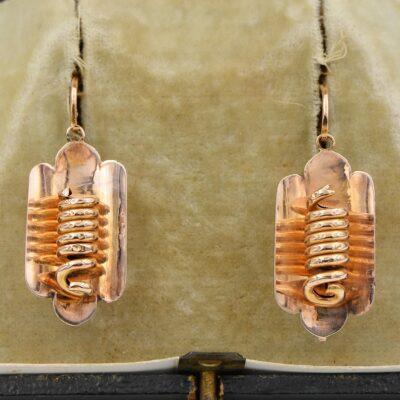 Victorian 16 KT Rose Gold Rare Coiled Snake Earrings