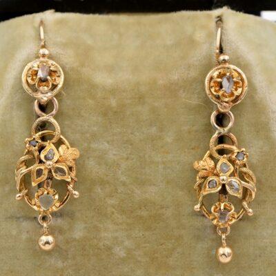 Art Nouveau 19 KT gold Rose Cut Diamond Night & Day earrings
